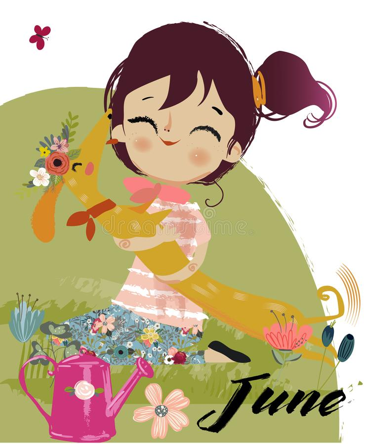 Free Cute Cartoon Autumn Girl Stock Photos - 103550583