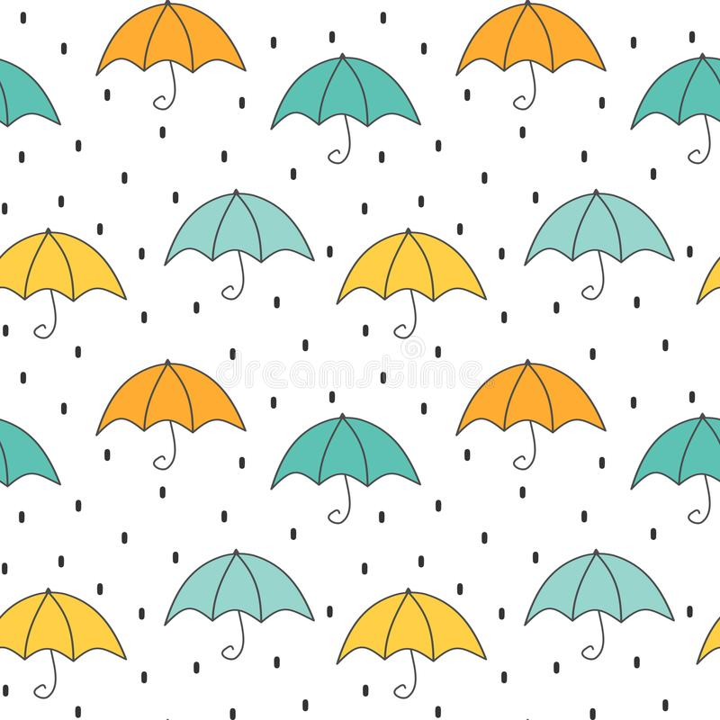 Cute cartoon autumn seamless vector pattern background illustration with umbrellas and rain stock illustration