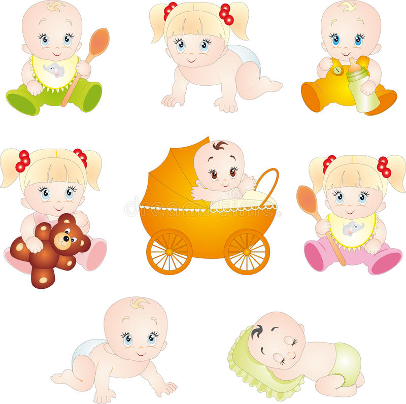 Download Cute cartoon babies stock vector. Image of cheerful, different - 14233774