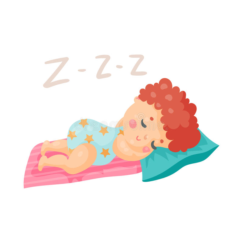 Cute cartoon baby in a blue bodysuit sleeping in his bed colorful character vector Illustration royalty free illustration