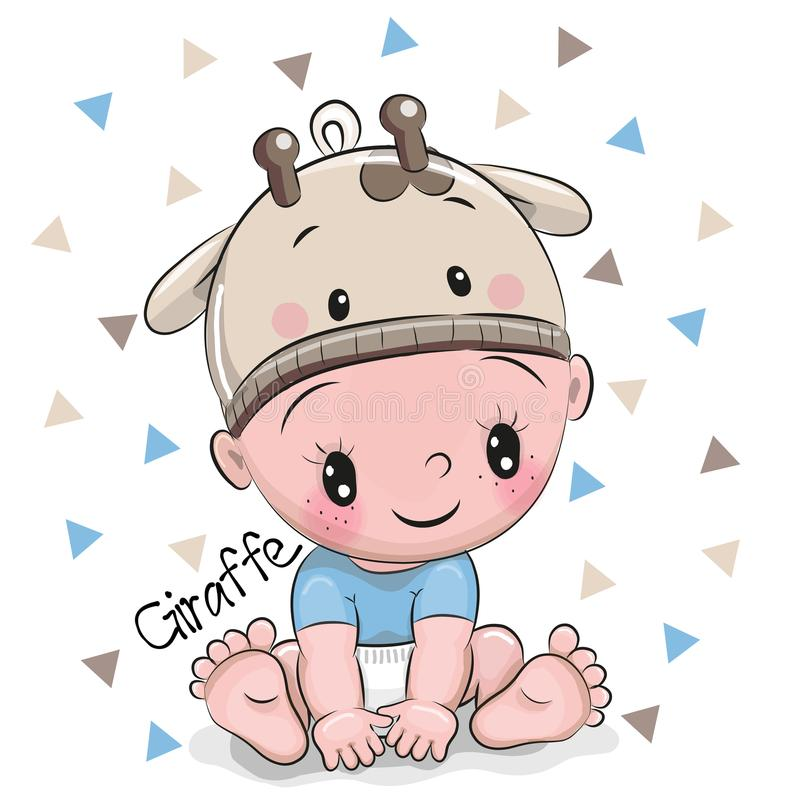 Cute Cartoon Baby boy in a giraffe hat. On a white background royalty free illustration