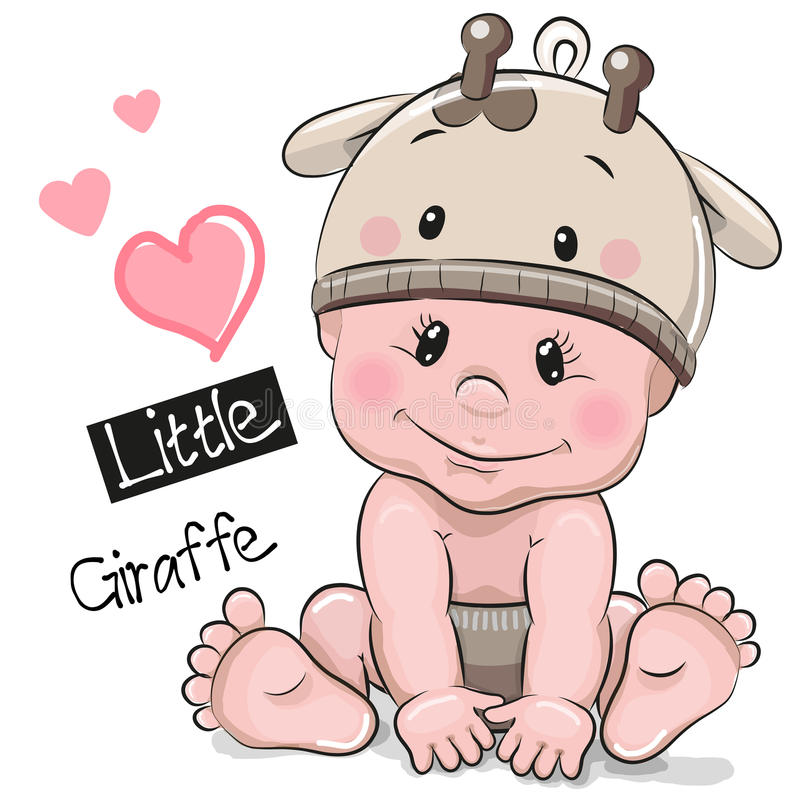 Cute Cartoon Baby boy in a Giraffe hat. On a white background stock illustration