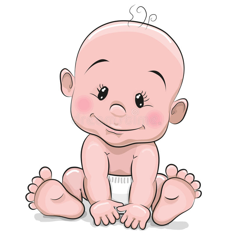 Cute cartoon baby boy vector illustration