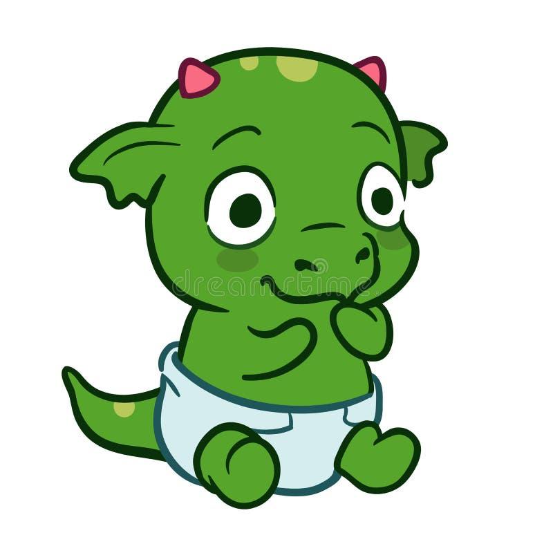 Cute cartoon baby dragon monster vector illustration
