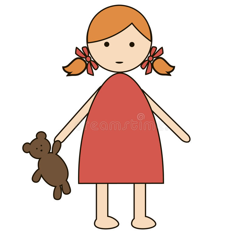 Cute cartoon baby girl isolated on a white background. simple flat design royalty free illustration