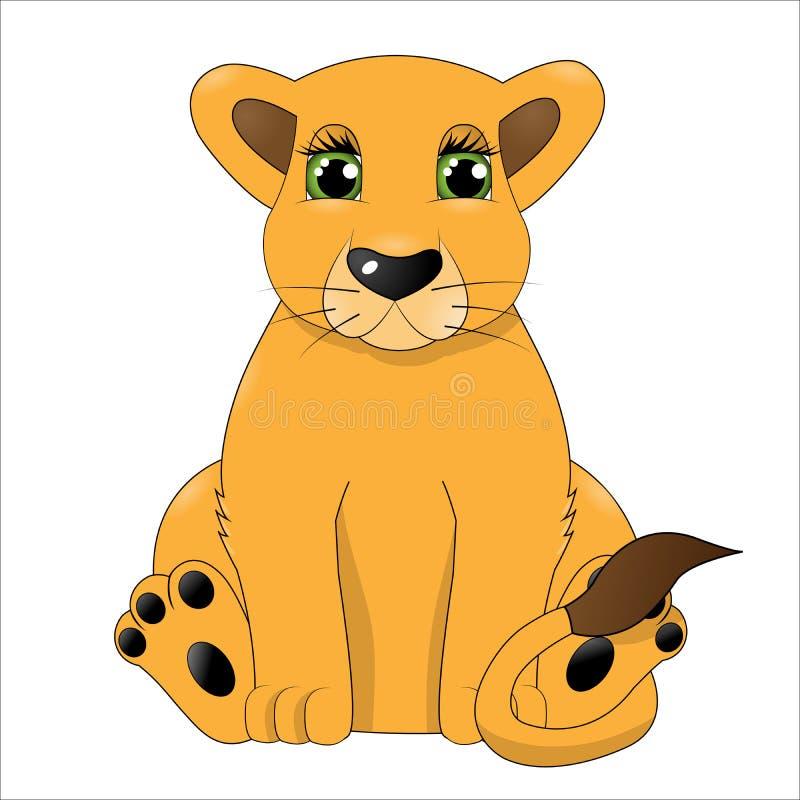 Cute cartoon baby lion vector illustration