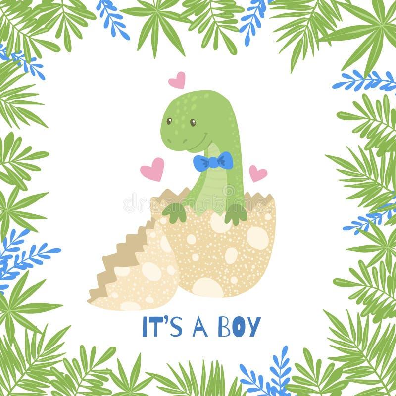 Free Cute Cartoon Baby Shower Card With Dinosaur Royalty Free Stock Photos - 149712648