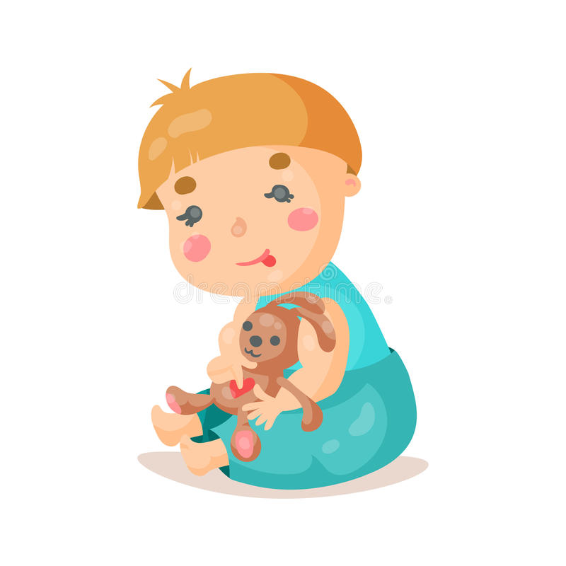 Cute cartoon baby sitting and plying with his bunny toy colorful character vector Illustration royalty free illustration
