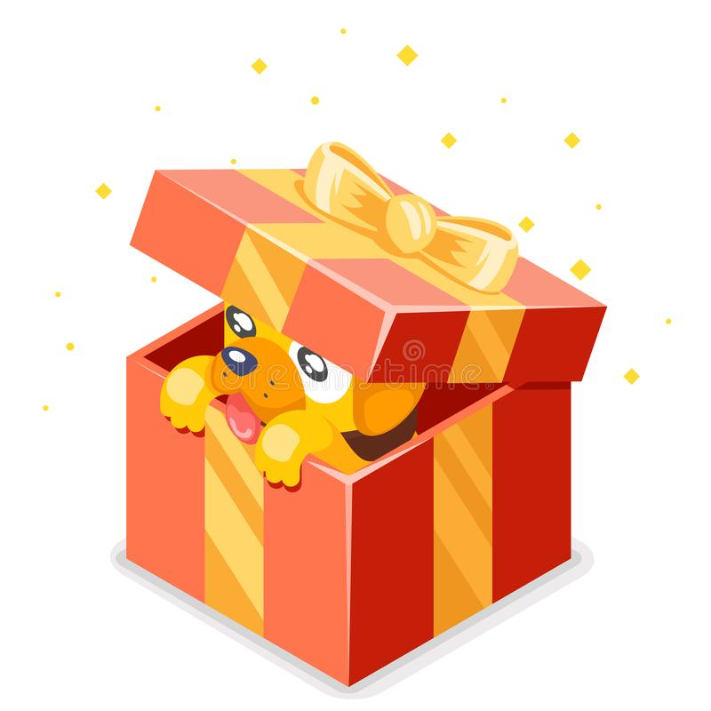 Cute cartoon baby yellow dog cub gift box 2018 year Isometric 3d flat design icon character vector illustration vector illustration