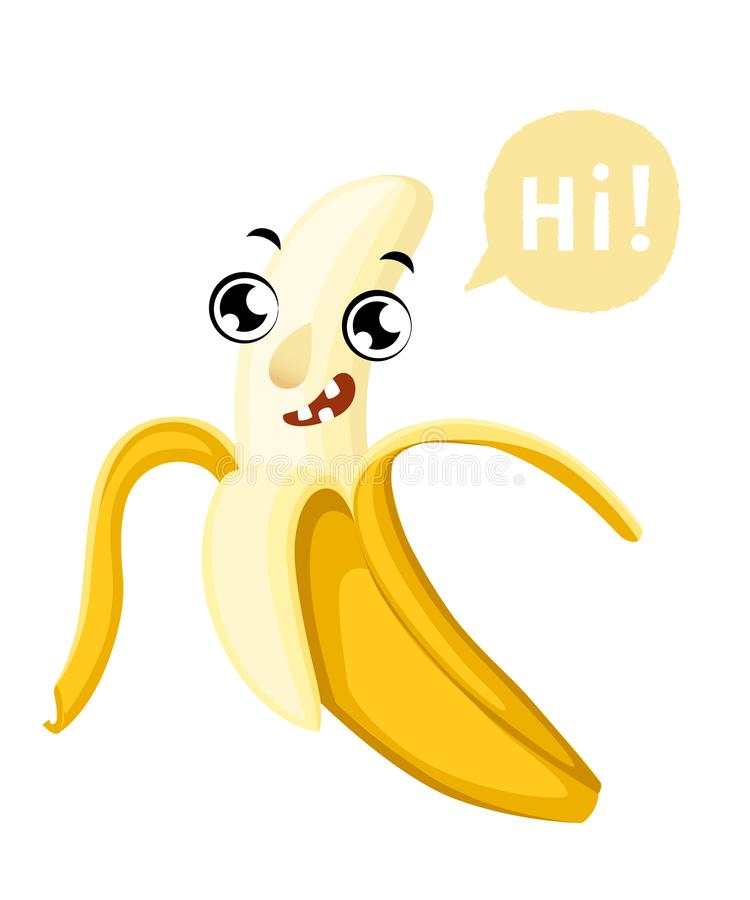 Cute cartoon banana smiling fruit with a caption cloud illustration isolated on white background web site page and mobile a royalty free illustration