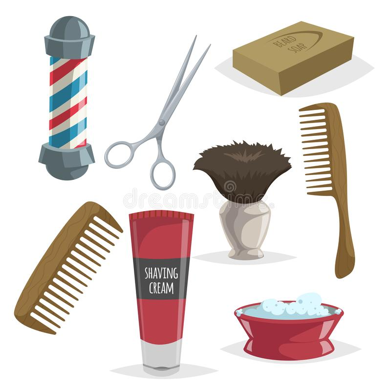 Cute cartoon barber accessories set. Barbershop striped pole, scissors, soap, wooden comb, shaving cream and brush. Vector illustr stock illustration