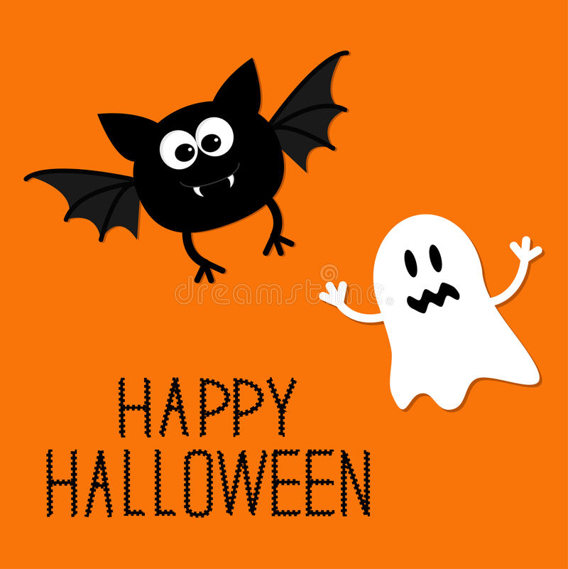 Cute Cartoon Bat And Ghost. Happy Halloween Card. Flat Design. Stock Vector -...