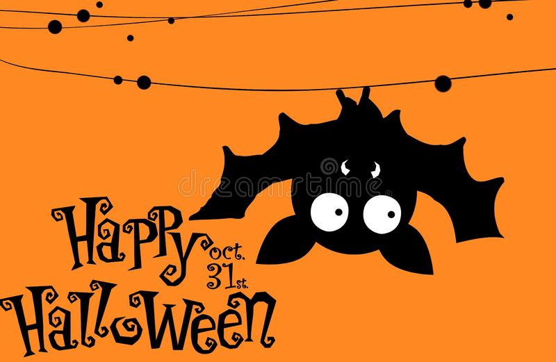 Cute cartoon bat. Happy Halloween card. Flat design. Hanging, top, character, animal, season, holiday, greeting, text, poster, new, print, element, concept stock photos