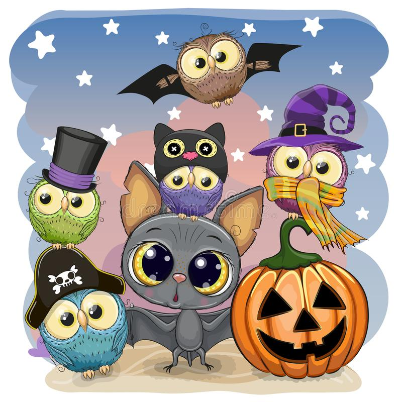 Free Cute Cartoon Bat With Pumpkin And Five Owls Royalty Free Stock Images - 129926869