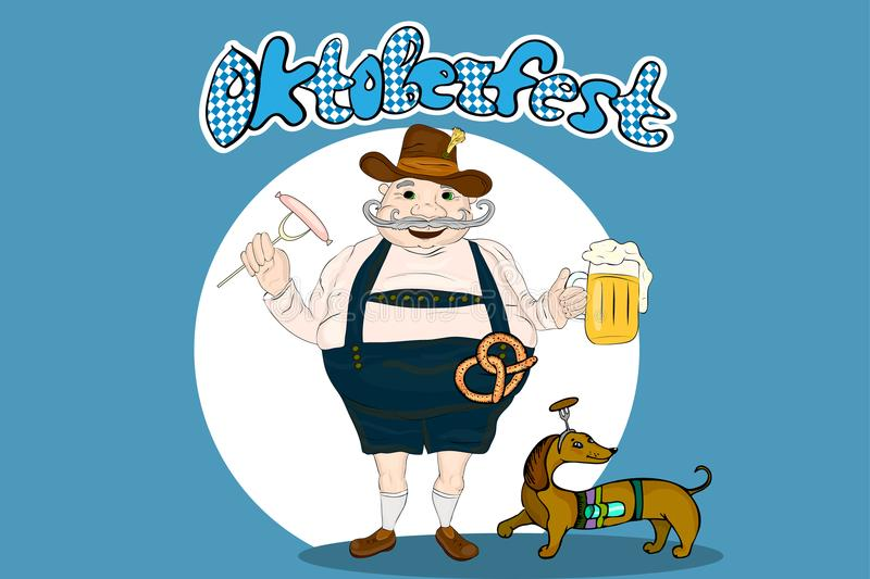Cute cartoon Bavarian man with beer, sausage and pretzel. Oktoberfest illustration royalty free illustration