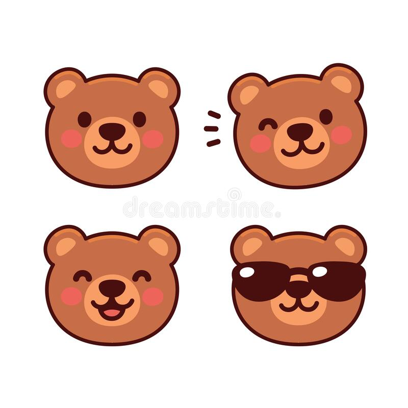 Free Cute Cartoon Bear Face Set Stock Photo - 173500120
