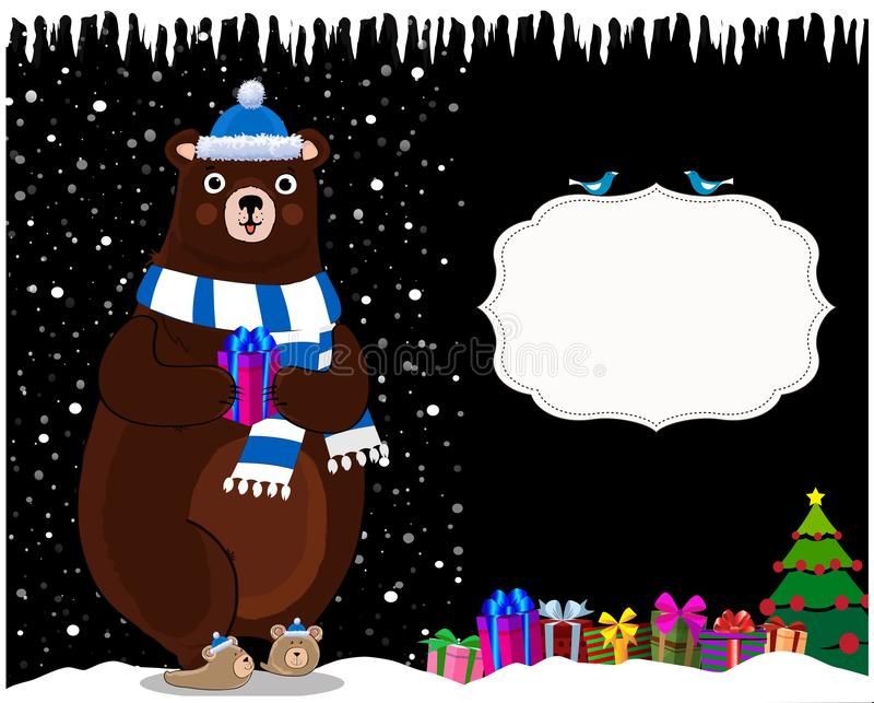 Cute cartoon bear in hat on night snowy background with gifts and copy space. stock illustration