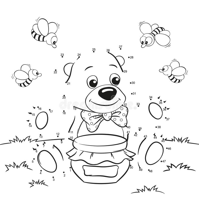 Cute cartoon bear with honey and bees. Dot to dot game stock illustration