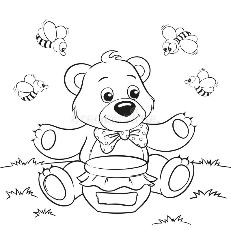 Cute cartoon bear with honey and bees. Vector illustration of cute cartoon bear with honey and bees for coloring book royalty free illustration