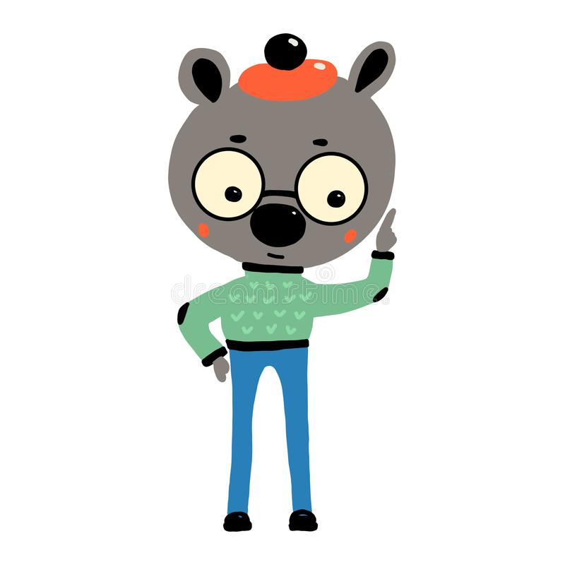 Cute cartoon bear. Smart character in round glasses and funny hat. Vector illustration drawn by hands. Isolated image on. Cute cartoon bear. Smart character in stock illustration