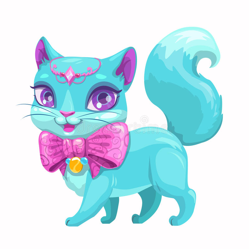 Cute cartoon beautiful princess cat. Cute cartoon beautiful princess cat with with beautiful pink bow and diadem. Vector kitty icon. Isolated on white stock illustration