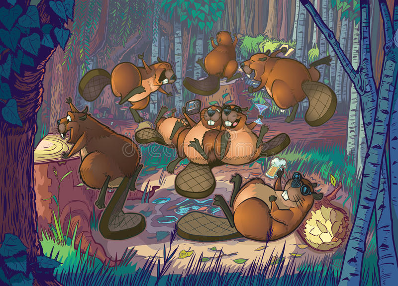 Cute Cartoon Beavers Party in A Forest Clearing stock illustration