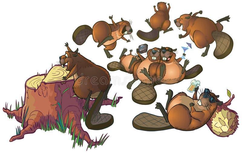 Cute Cartoon Beavers Party Vector Cartoon Clip Art stock illustration