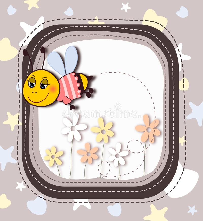 Download Cute cartoon bee in frame stock illustration. Image of background - 41751103