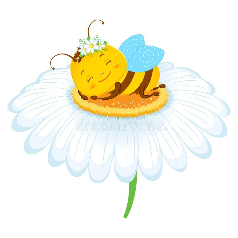 Free Cute Cartoon Bee Sleeping On A Camomile. Children S Illustration. Isolated On A White Background Royalty Free Stock Images - 188202759