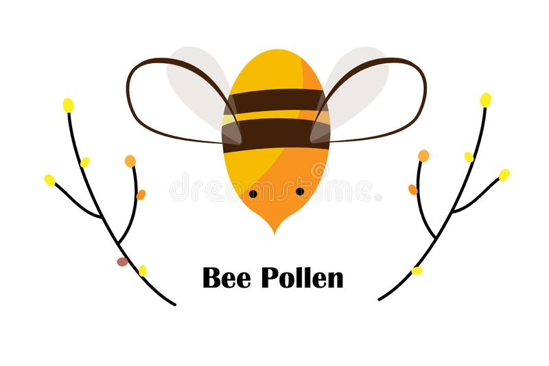 Cute Cartoon Bee, Tree Branches, and Bee Pollen grains with space for text. Beekeeping Logo or Honey Packaging design. Vector Illustration vector illustration