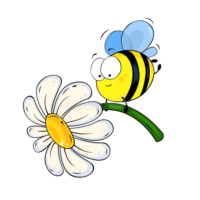 Free Cute Cartoon Bee With White Flower. Stock Images - 170711814