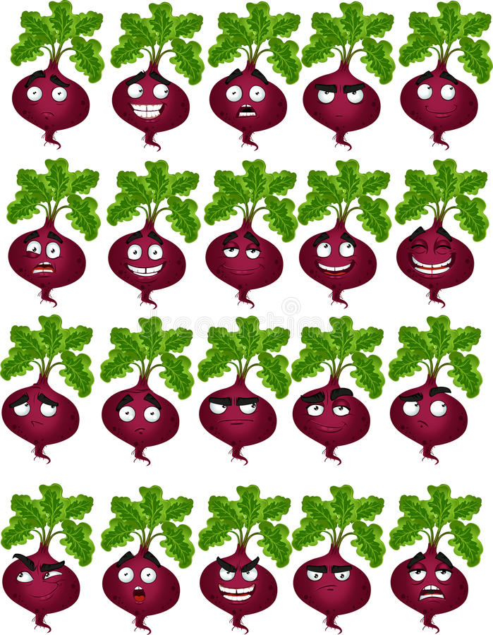 Cute cartoon beetroot smile with many expressions vector illustration