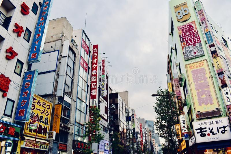 Special cartoon Billboards on the building of Tokyo city, Japan. Cute cartoon Billboards on the building of Tokyo city, Japan stock photos