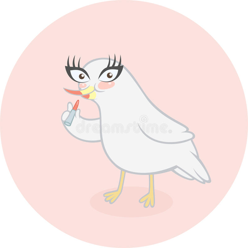 Cute cartoon bird applying her makeup stock illustration