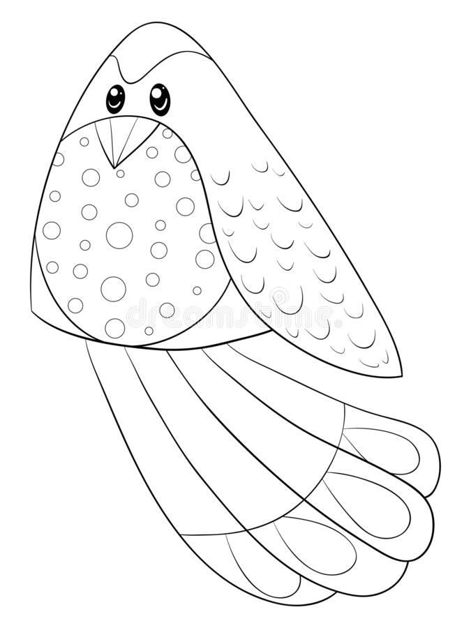 A children coloring book,page a cartoon bird image for relaxing activity.Line art style illustration. A cute cartoon bird image for relaxing activity.A coloring royalty free illustration