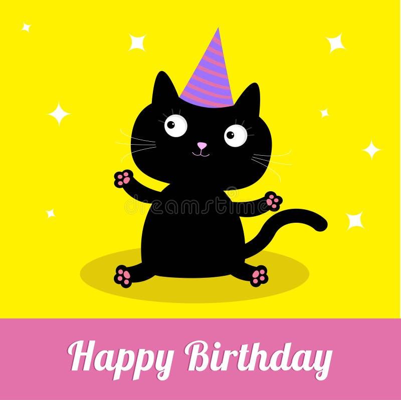 Cute cartoon black cat with hat happy birthday party card stock download cute cartoon black cat with hat happy birthday party card stock vector bookmarktalkfo Choice Image