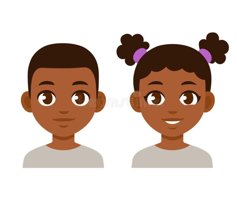 Cute cartoon black children. Portraits. African American boy and girl isolated vector illustration vector illustration