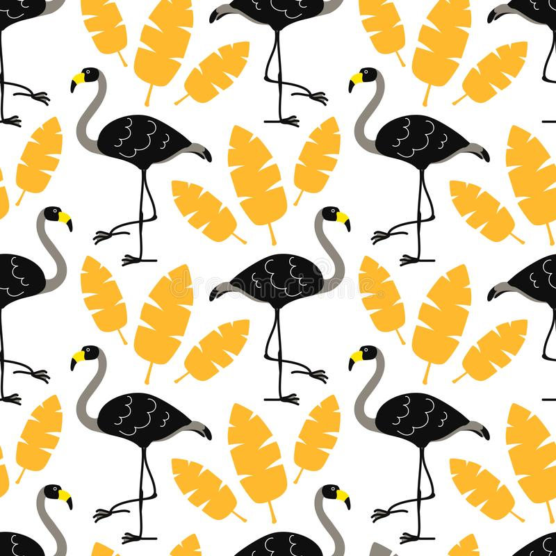 Cute cartoon black flamingos and gold tropical leaves isolated on white background. Vector seamless pattern stock illustration