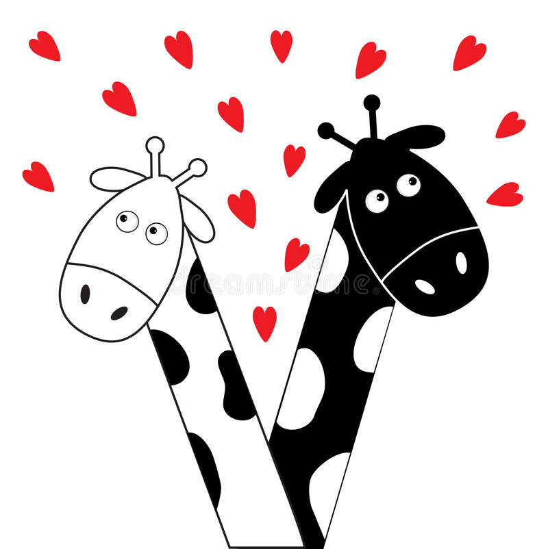 Cute cartoon black white giraffe boy and girl with little hearts. Camelopard couple on date. Long neck. Funny characters. Happy family. Love greeting card royalty free illustration