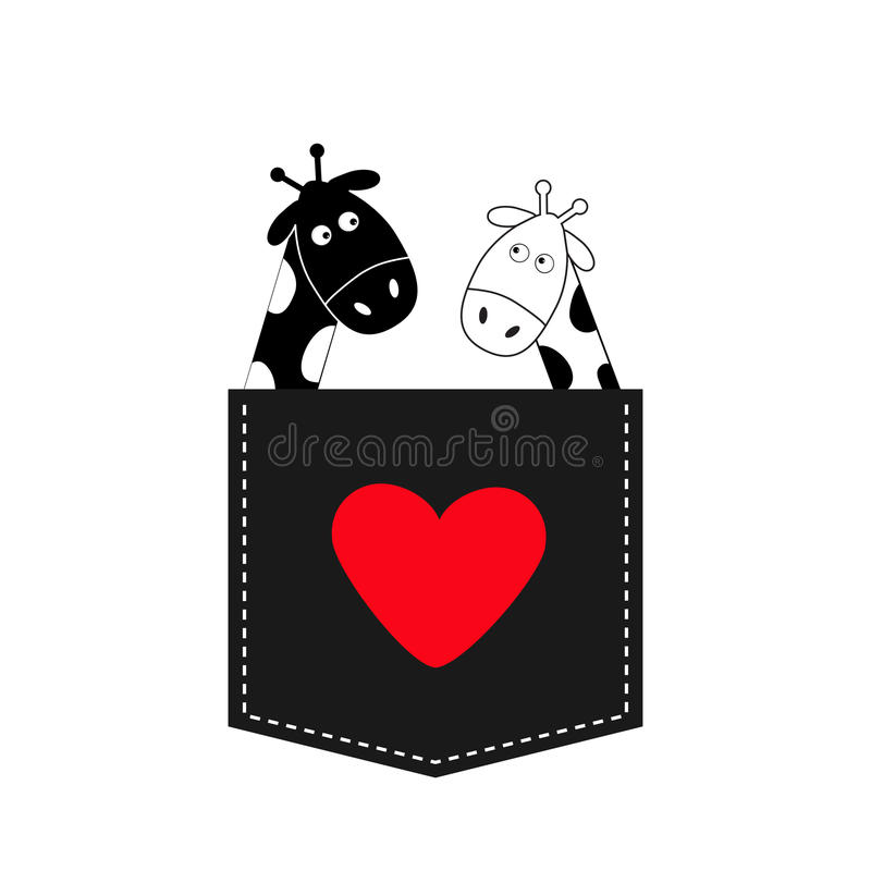 Cute cartoon black white giraffe in the pocket Boy girl and heart. Camelopard couple on date. Long neck. Funny character set. Happy family. Love greeting card royalty free illustration