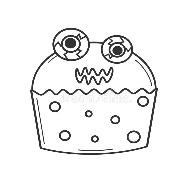 Cute Cartoon Black And White Monster Cupcake Funny Halloween Illustration For Coloring Art Stock Vector Illustration Of Character Baby 160964814