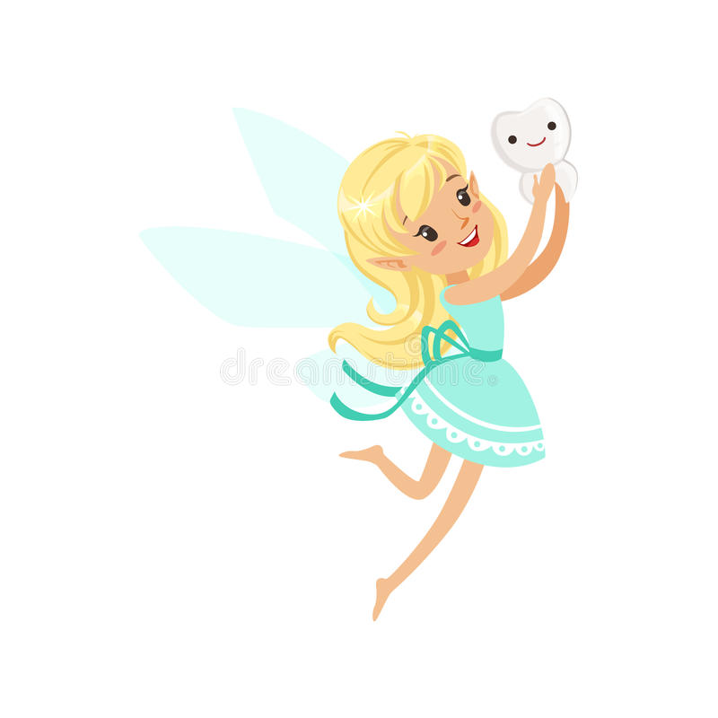 Cute cartoon blonde Tooth Fairy girl flying with tooth colorful character vector Illustration vector illustration