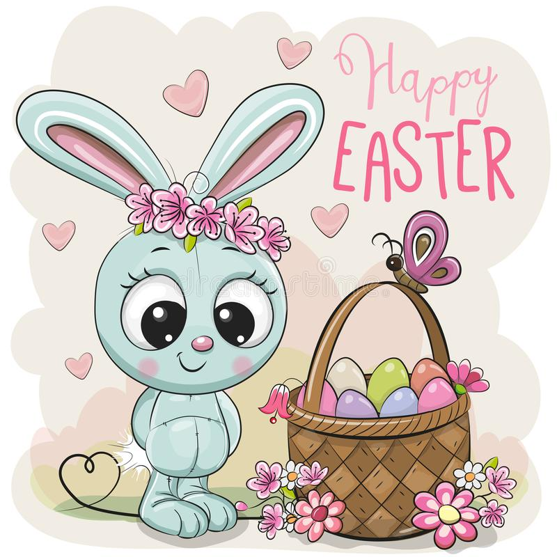 Cartoon Bunny with a basket of Easter eggs. Cute Cartoon blue Bunny with a basket of Easter eggs royalty free illustration