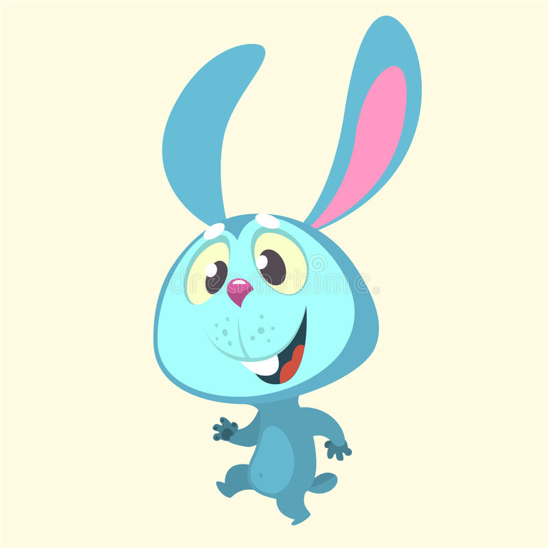 Cute cartoon blue bunny rabbit character dancing. Vector illustration of a rabbit icon isolated on white royalty free illustration