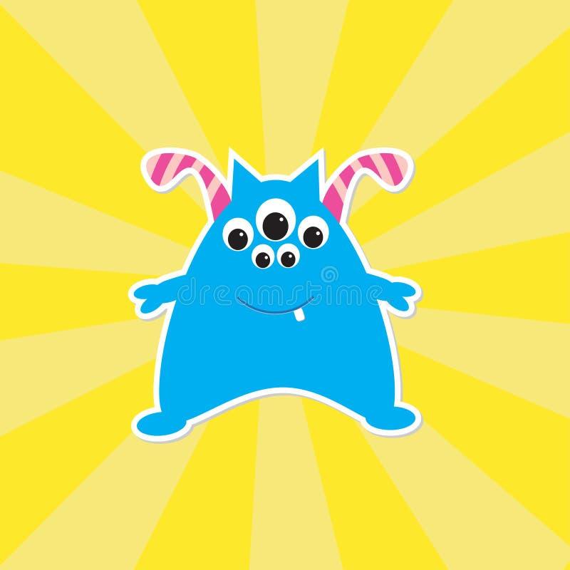 Cute cartoon blue monster vector illustration