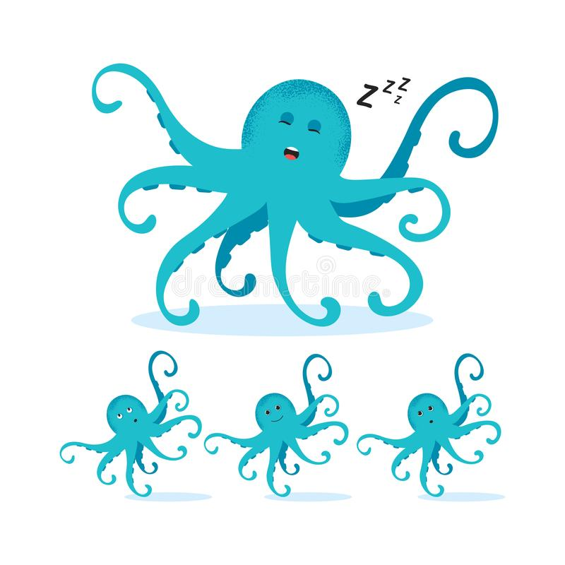 Cute cartoon blue octopus drawing royalty free illustration