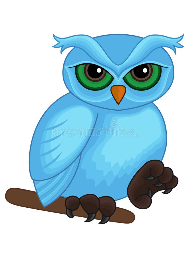 Cute Cartoon Blue Owl On A Branch Stock Vector