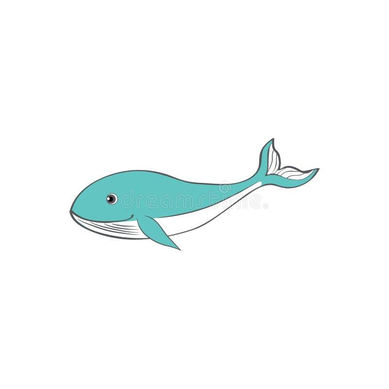 Cute cartoon blue whale, kid wild animal vector funny illustration isolated on white background, decorative fish, marine royalty free illustration