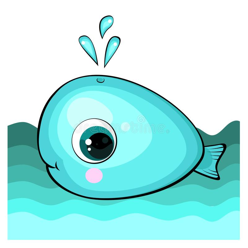 Cute cartoon blue whale in the water. stock illustration