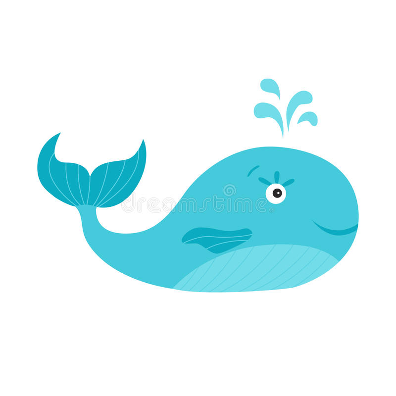 Cute cartoon blue whale on white background. royalty free illustration